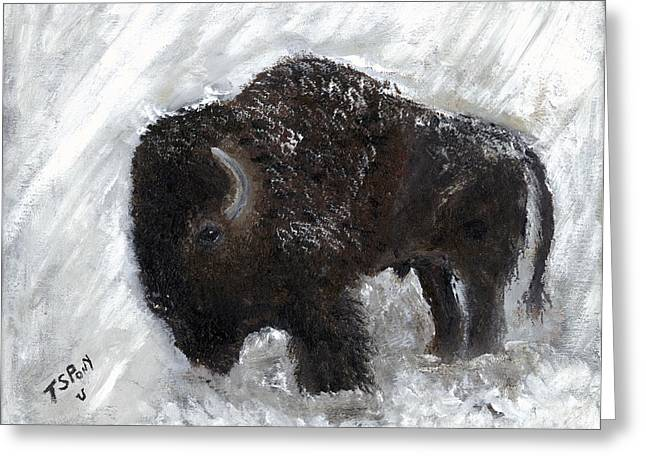 Tatanka Greeting Cards - Buffalo in the Snow Greeting Card by Barbie Batson