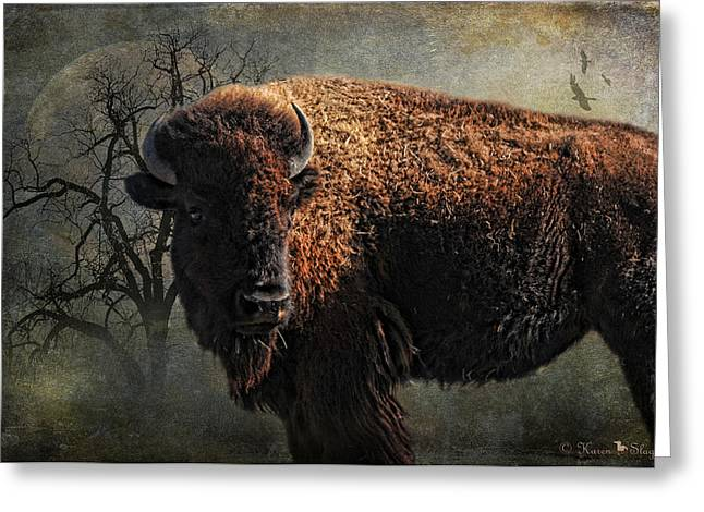 Tatanka Greeting Cards - Buffalo Moon Greeting Card by Karen Slagle