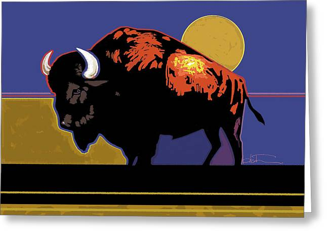Bison Paintings Greeting Cards - Buffalo Moon Greeting Card by R Mark Heath