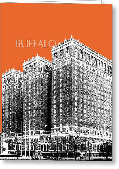 Coral Colors Greeting Cards - Buffalo New York Skyline 2 - Coral Greeting Card by DB Artist