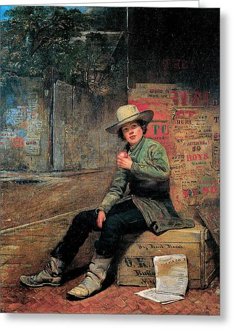 Seated Buffalo Greeting Cards - Buffalo Newsboy Greeting Card by Thomas Le Clear