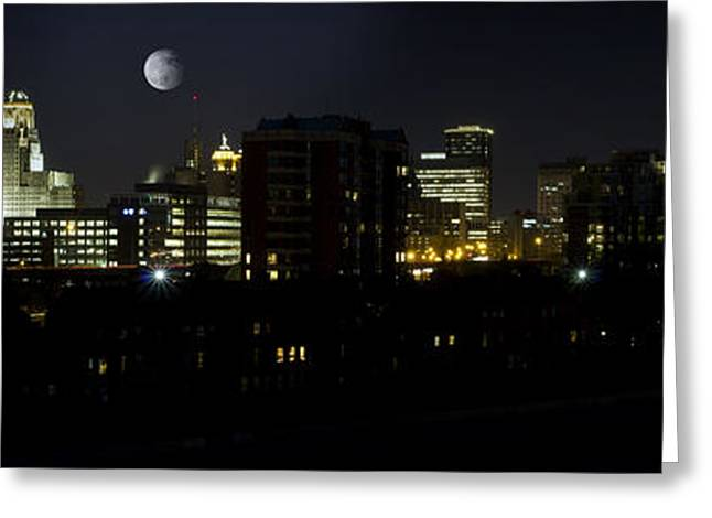 Moonrise Greeting Cards - Buffalo Night Moves Greeting Card by Peter Chilelli
