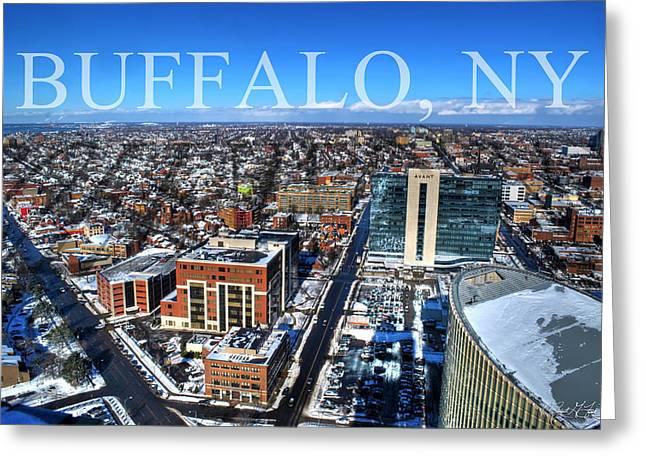 Birdseye Greeting Cards - Buffalo NY Winter 2013 Greeting Card by Michael Frank Jr