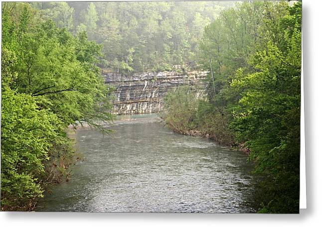 Buffalo River Mist Horizontal Greeting Card by Marty Koch