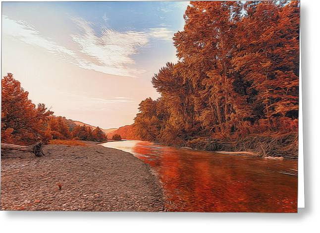 Buffalo River Painted Red Greeting Card by Bill Tiepelman