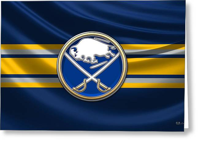 Hockey Memorabilia Greeting Cards - Buffalo Sabres - 3D Badge over Silk Flag Greeting Card by Serge Averbukh