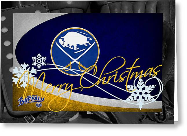 Skates Greeting Cards - Buffalo Sabres Christmas Greeting Card by Joe Hamilton