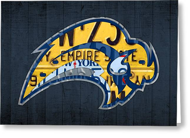 Buffalo Greeting Cards - Buffalo Sabres Hockey Team Retro Logo Vintage Recycled New York License Plate Art Greeting Card by Design Turnpike