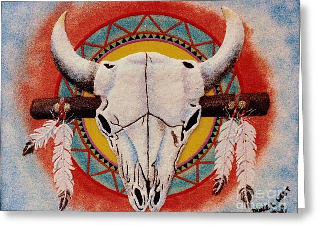 Native American Indian Medicine Wheel Greeting Cards - Buffalo Skull Greeting Card by Duane West