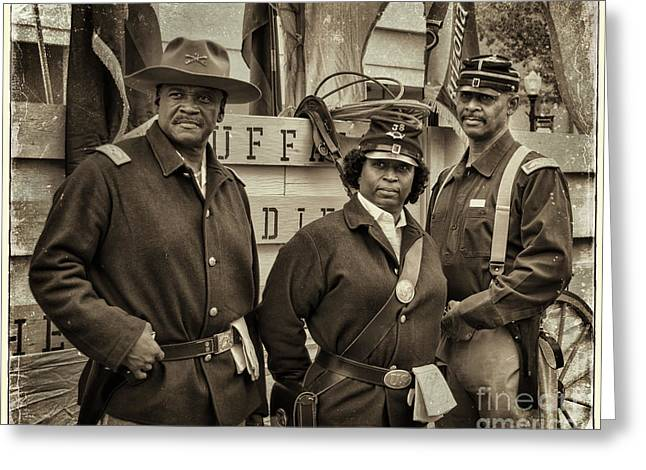Prescott Greeting Cards - Buffalo Soldiers Reenactors Greeting Card by Priscilla Burgers