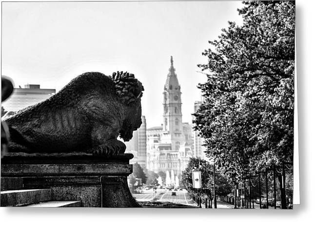 E Black Greeting Cards - Buffalo Statue on the Parkway Greeting Card by Bill Cannon