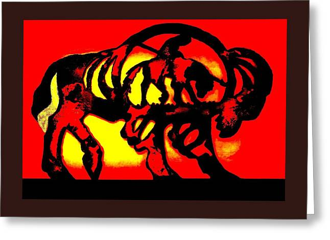Buffalo Sun Set Greeting Card by Larry Campbell