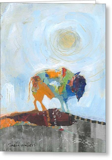 Buffalo Paintings Greeting Cards - Buffalo VI Greeting Card by Shelli Walters