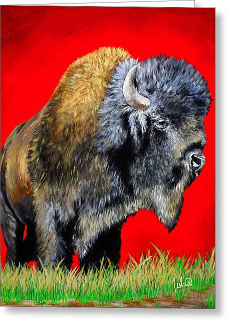Bison Paintings Greeting Cards - Buffalo Warrior Greeting Card by Teshia Art