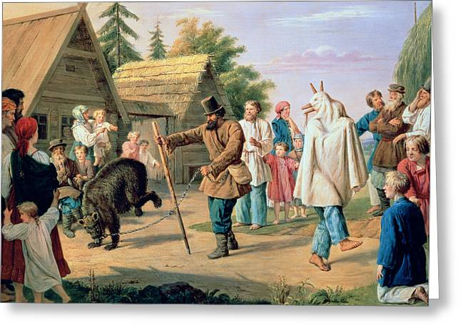 Comedians Greeting Cards - Buffoons in a Village Greeting Card by Francois Nicholas Riss