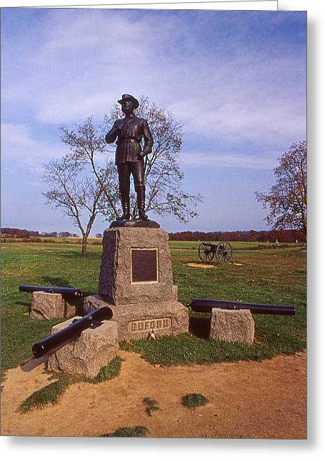 Scenic Tours Greeting Cards - Buford At Gettysburg Greeting Card by Skip Willits