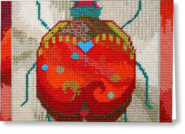 Crisp Tapestries - Textiles Greeting Cards - Bug Greeting Card by Connie Pickering Stover