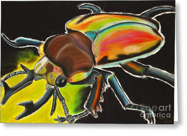 Creepy Pastels Greeting Cards - Bug Electric Greeting Card by Mik Smith