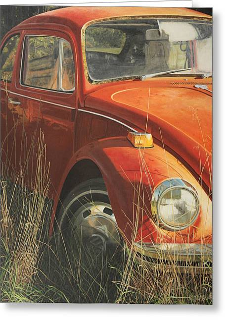Old Car Greeting Cards - Bug in the Grass Greeting Card by Nancy Teague