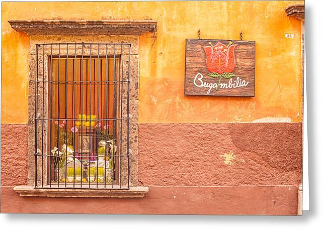 Holy Week Greeting Cards - Bugambilia - Restaurant in San Miguel Greeting Card by Lindley Johnson