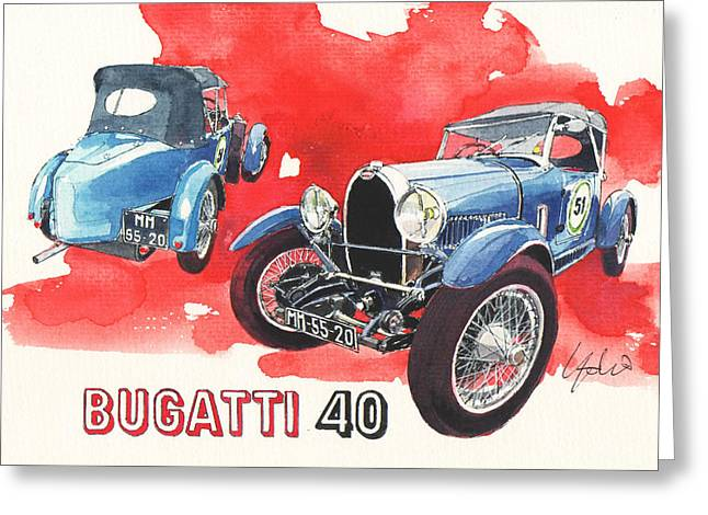 Bugatti Greeting Cards - Bugatti 40 Greeting Card by Yoshiharu Miyakawa