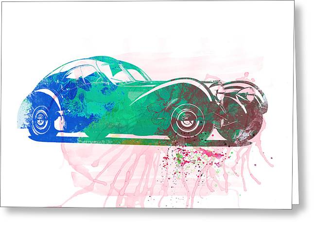 Bugatti Greeting Cards - Bugatti Atlantic Watercolor 1 Greeting Card by Naxart Studio