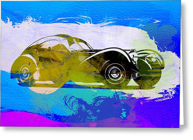 Bugatti Greeting Cards - Bugatti Atlantic Watercolor 2 Greeting Card by Naxart Studio