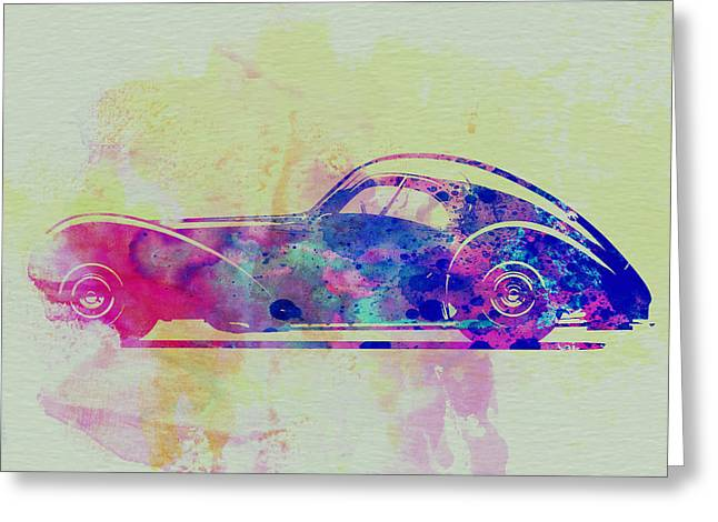 Bugatti Greeting Cards - Bugatti Atlantic Watercolor 3 Greeting Card by Naxart Studio