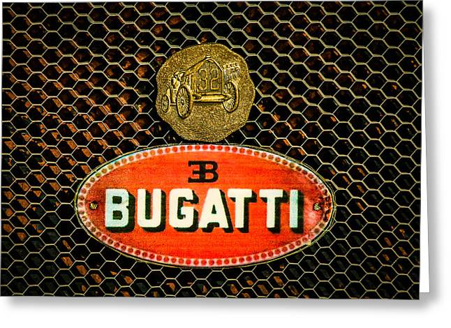 Bugatti Vintage Car Greeting Cards - Bugatti Emblem -0903c Greeting Card by Jill Reger