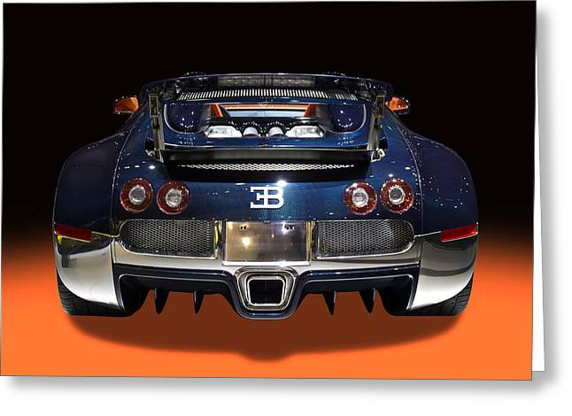 Delux Greeting Cards - Bugatti luxury sport car back view Greeting Card by Radoslav Nedelchev