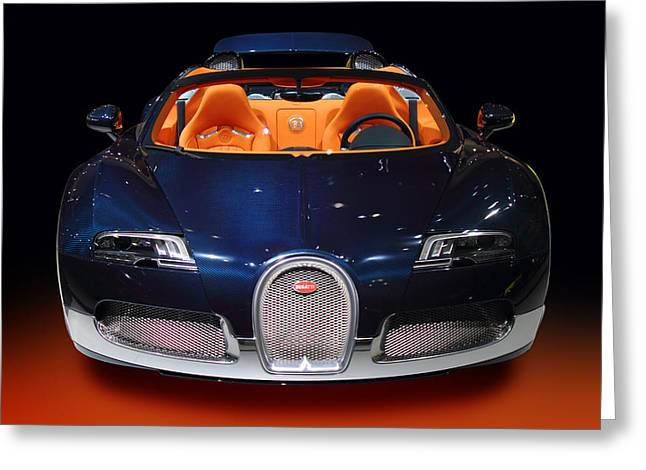 Delux Greeting Cards - Bugatti luxury sport car Greeting Card by Radoslav Nedelchev