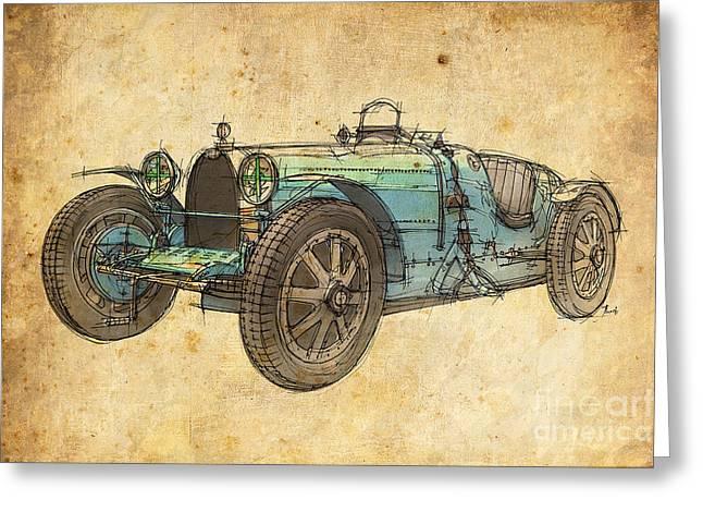 Bugatti Classic Car Greeting Cards - Bugatti Greeting Card by Pablo Franchi