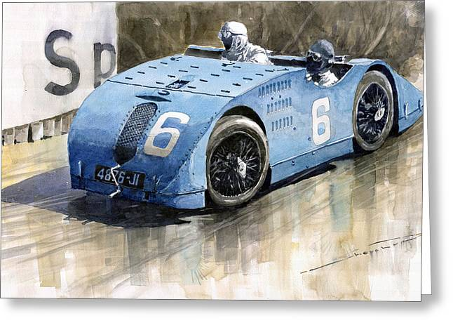 Tank Greeting Cards - Bugatti Type 32 Tank 1923 French GP  Greeting Card by Yuriy  Shevchuk