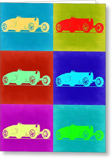 Bugatti Greeting Cards - Bugatti Type 35 R Pop Art 2 Greeting Card by Naxart Studio