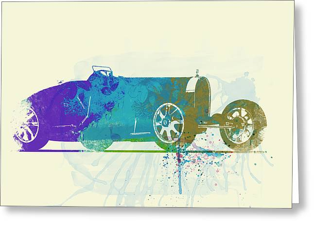 Bugatti Greeting Cards - Bugatti Type 35 R watercolor Greeting Card by Naxart Studio