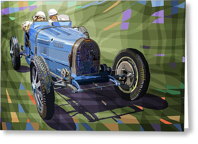 Vintage Auto Greeting Cards - Bugatti Type 35 Greeting Card by Yuriy Shevchuk