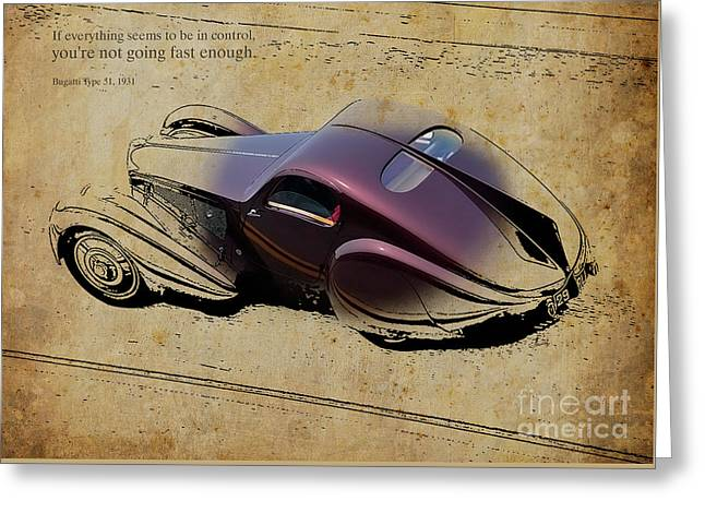 Bugatti Type51 1931 Quote Greeting Card by Pablo Franchi