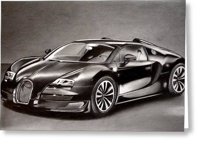 Shiny Drawings Greeting Cards - Bugatti Veyron Greeting Card by Darryl Linquist