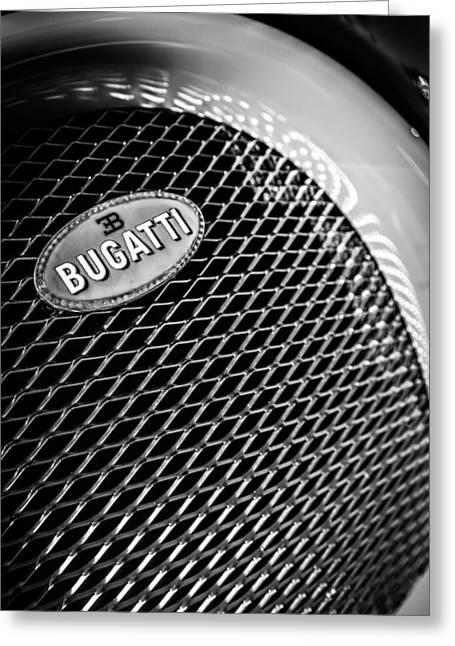 Bugatti Veyron Greeting Cards - Bugatti Veyron Legand Emblem -0520bw Greeting Card by Jill Reger