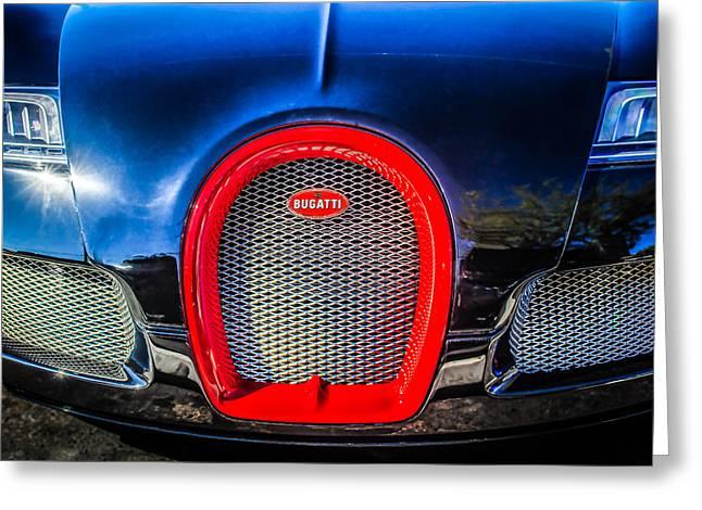 Bugatti Veyron Greeting Cards - Bugatti Veyron Legend Grille Emblem -0488c Greeting Card by Jill Reger