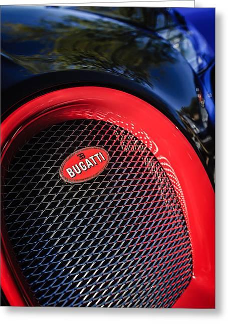 Bugatti Veyron Greeting Cards - Bugatti Veyron Legend Grille Emblem -0514c Greeting Card by Jill Reger