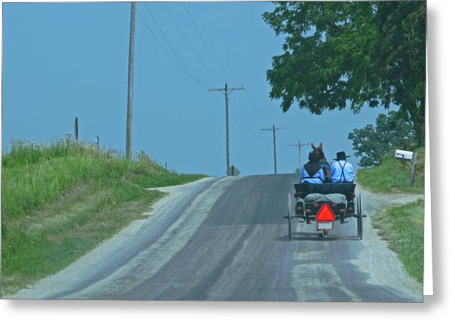 Rural Indiana Greeting Cards - Buggy Ride Greeting Card by Ann Horn