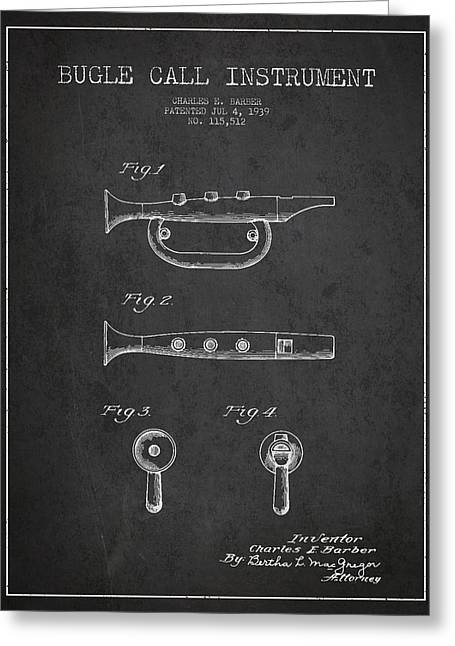 Trumpet Digital Greeting Cards - Bugle Call instrument patent Drawing from 1939 - Dark Greeting Card by Aged Pixel