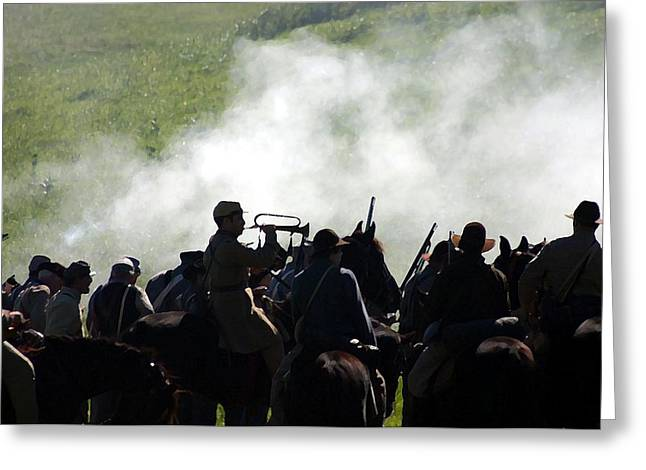 Confederacy Digital Art Greeting Cards - Bugler Sounding the Charge - Perryville KY Greeting Card by Thia Stover