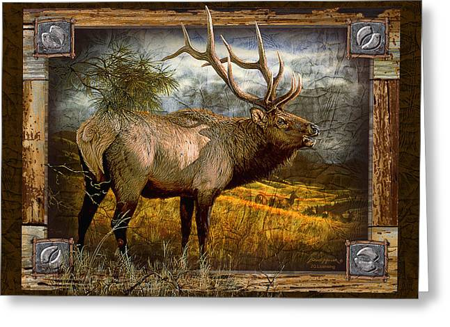Outdoors Paintings Greeting Cards - Bugling Elk Greeting Card by JQ Licensing