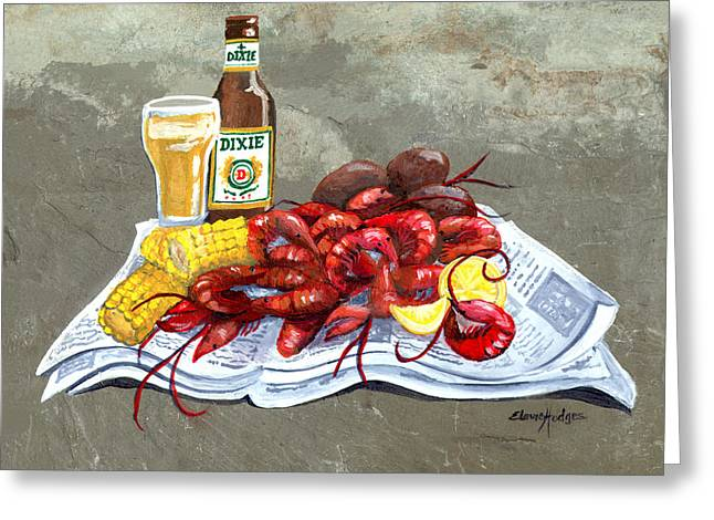 Crawfish Beer Greeting Cards - Bugs and Beer Greeting Card by Elaine Hodges