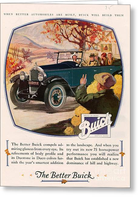 American Automobiles Greeting Cards - Buick 1925 1920s Usa Cc Cars Autumn Greeting Card by The Advertising Archives