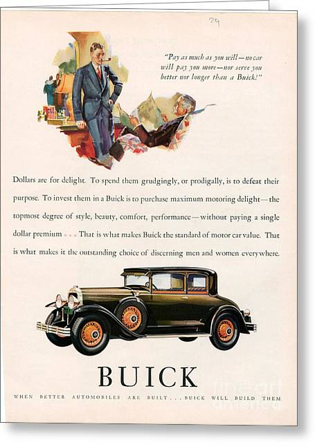 American Automobiles Greeting Cards - Buick 1929 1920s Usa Cc Cars Pipes Greeting Card by The Advertising Archives