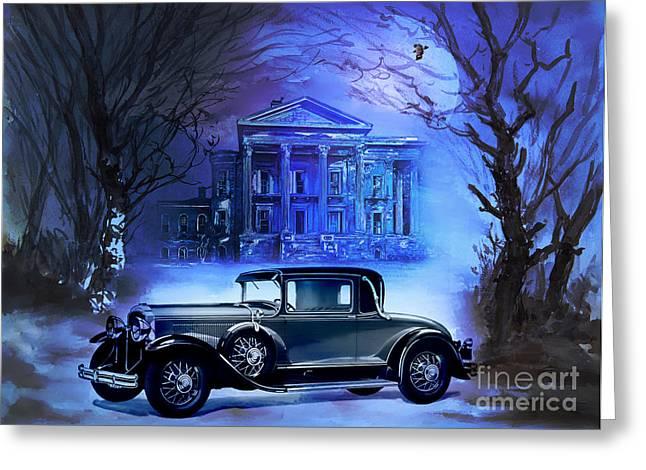 Blue Buick Greeting Cards - Buick 1930 Greeting Card by Andrzej Szczerski