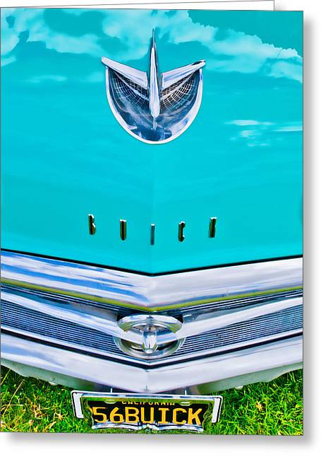 Blue Buick Greeting Cards - Buick Grill Greeting Card by Phil